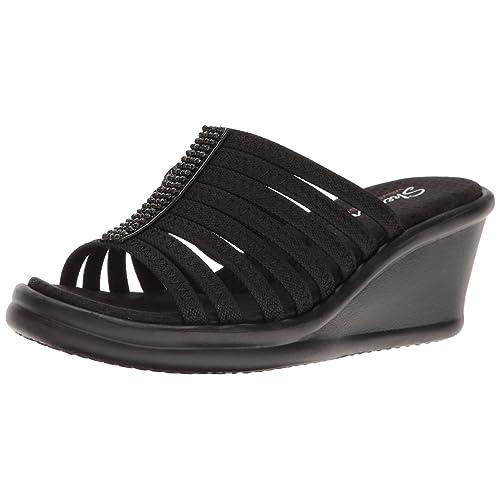 Women's Black Wedges Sandals: Amazon.com