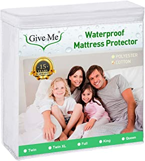 Give Me Premium Mattress Protector, 100% Waterproof Fitted Mattress Cover Cotton Terry Surface - Noiseless, Hypoallergenic, Vinyl Free (Twin)