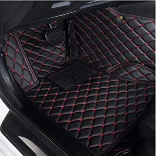 AUTURN Waterproof Custom Fit Luxury XPE Leather Car Floor Mats All Weather 3D Full Surrounded Front Rear Car Floor Liners for Hummer H2, Black with Red Stitching
