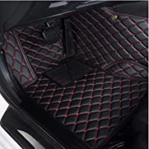 AUTURN Waterproof Custom Fit Luxury XPE Leather Car Floor Mats All Weather 3D Full Surrounded Front Rear Car Floor Liners for Cadillac CT6, Black with Red Stitching