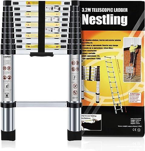 Nestling® Échelle Télescopique 3.2M en Aluminium Bricolage Pliable Extensible Unique Droite Multi-fonction Ladder Cha...