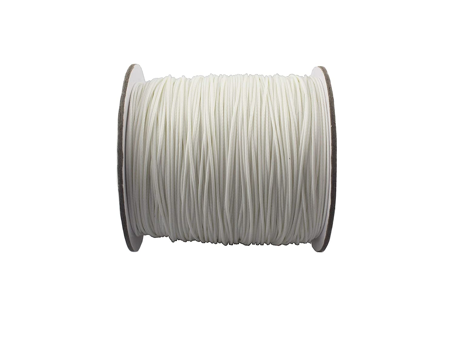 QIANHAILIZZ 150 Yards 0.5 mm Waxed Jewelry Making Cord Waxed Beading String Craft DIY Thread LXX120601805 (White)