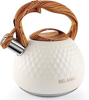 Tea Kettle, 2.7 Quart BELANKO Teapot Whistling Kettle with Wood Pattern Handle Loud Whistle, Food Grade Stainless Steel Te...