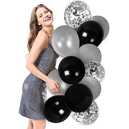 BLACK /& SILVER MARBELLED BALOONS 5 PACK 12 INCH SPACE PARTY DECORATION HALLOWEEN