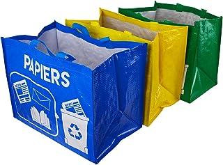 MATEXA Lot de 3 Sacs de tri sélectif réutilisables. Sacs Cabas pour Le Recyclage des déchets.