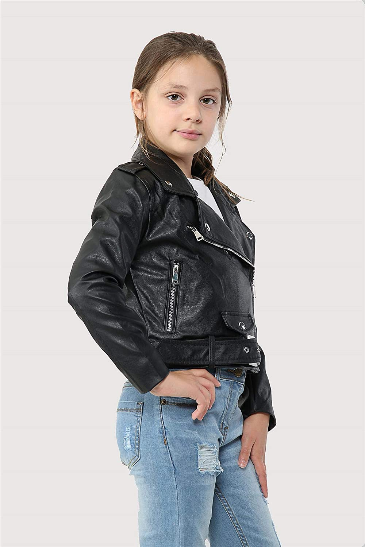 A2Z 4 Kids Kids Jackets Girls Designers PU Leather Black Jacket Fashion Zip Up Biker Trendy Belted Coat Overcoats New Age 5 6 7 8 9 10 11 12 13 Years