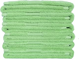Cotton Towels Set - Pack of 6, Soft and Absorbent Washcloth 600 GSM for Bath Spa Hotel Daily Use (Green)