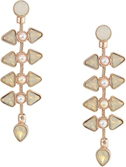 Clustered Stone and Pearl Drop Earrings