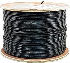 Vertical Cable Cat5e, 350 Mhz, UTP, UV Jacket, Outdoor, CMX, 2000ft, Black, Bulk Ethernet Cable, Wooden Spool