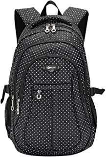 Kid Child Girl Multipurpose Dot Backpack School Bag(Black,Small)