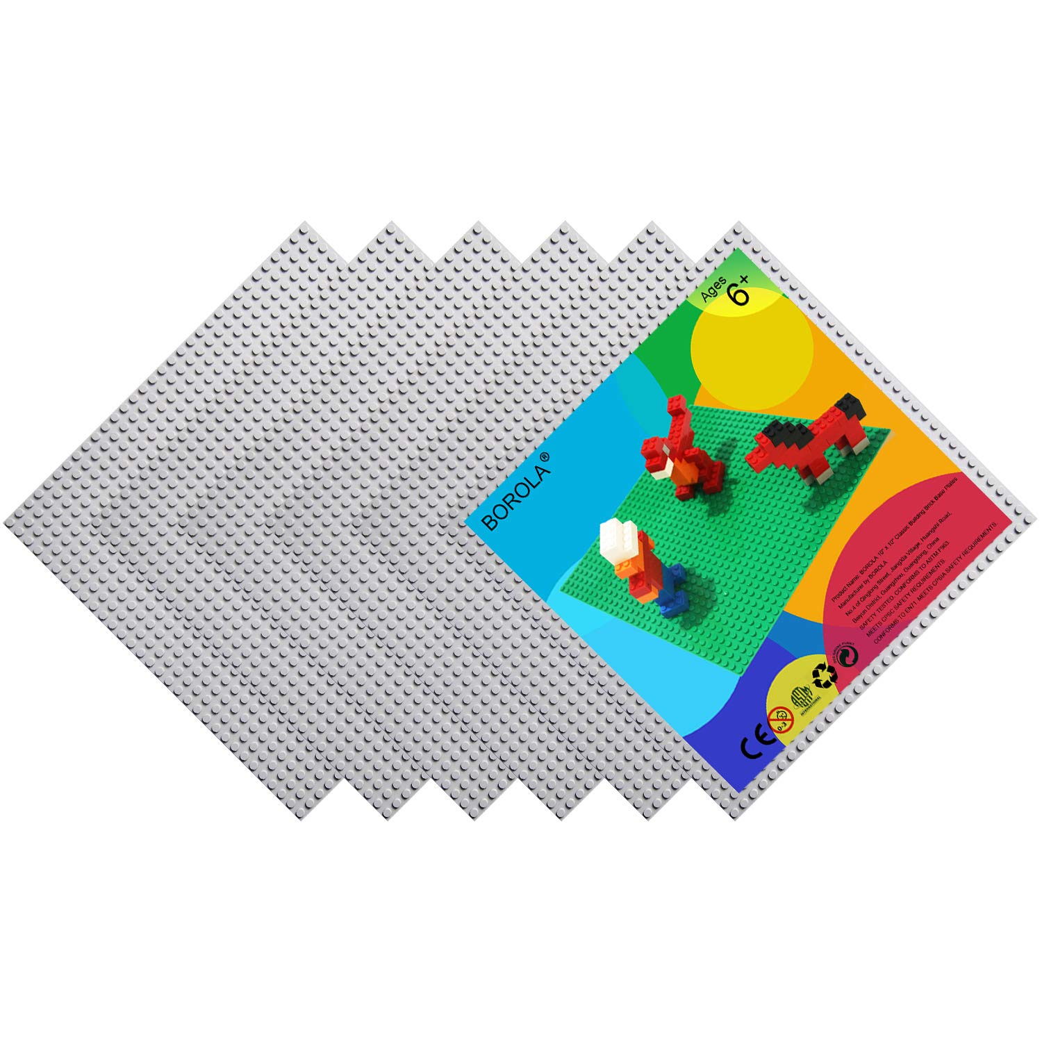 Compatible Most Major Brands Building Bricks 10 x 10 in Variety Color 4-Pack, Sand BOROLA Classic Building Base Block Plate