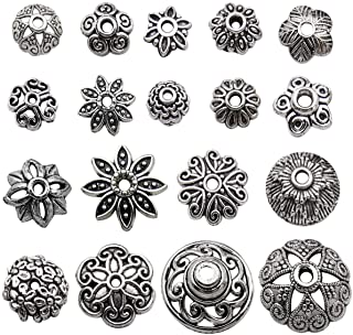 Youdiyla Bulk 175 Floral Bead Caps Collection, Antique Silver Tone, Metal Beads Caps for Necklace and Bracelet Eardrop Beads Jewelry Making (HM274)