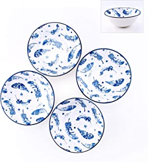 YALONG 40-Ounce Large Porcelain Soup, Salad, Pasta, Pho Serving Bowls, Blue and White, Feather Pattern Stackable Deep Bowl Set of 4 for Father's Day Gift