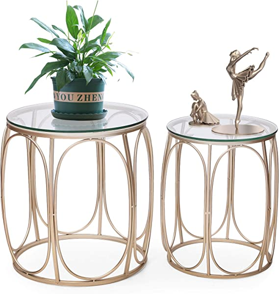 Joveco Gold End Table Metal Side Tables For Living Room Set Of 2 A Glass Top