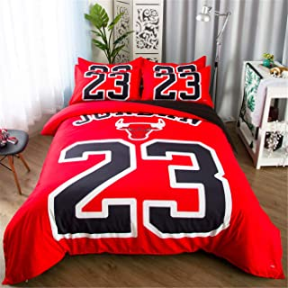 ZI TENG New 3D Print Basketball Duvet Cover Student Kids Basketball Bedding Set 3PC Boys and Teenagers Bed Set1Duvet Cover,2Pillowcases,Twin Full Queen King Size