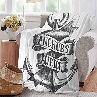 KFUTMD Lightweight Blanket Tattoo Style Navy Symbol Sketch with Ribbon and Vintage Lettering Insignia Charcoal Grey White Couch Bed Napping Reading Recliner W54 xL84