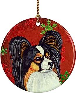 Caroline's Treasures LH9345-CO1 Papillon Red Snowflake Holiday Christmas Ceramic Ornament, Multicolor
