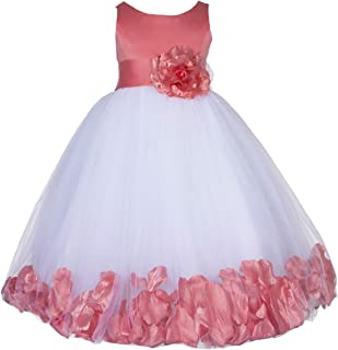 Floral Rose Petals Tulle Flower Girl Dress Junior Bridesmaid Pageant 167S