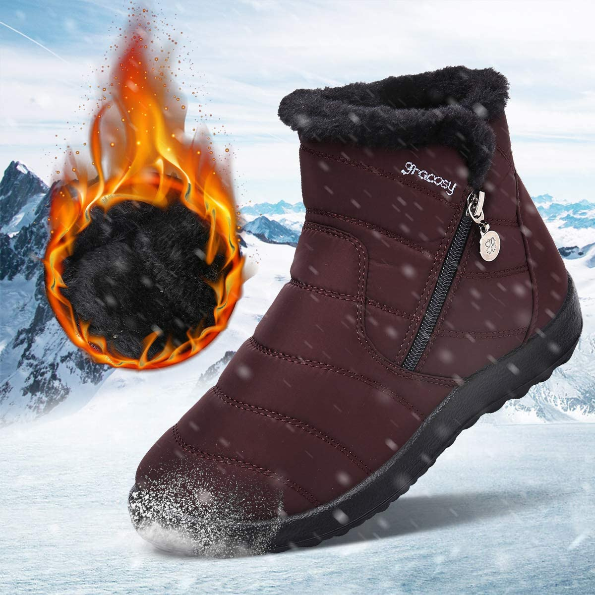 gracosy Women Snow Boots Winter Fur Lined Warm Ankle Boots Slip On Anti Slip Waterproof Short Boots Black
