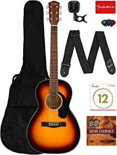 Fender CP-60S Solid Top Parlor Size Acoustic Guitar Bundle with Gig Bag, Tuner, Strap, Strings, Picks, Fender Play Online Lessons, and Austin Bazaar Instructional DVD - Sunburst