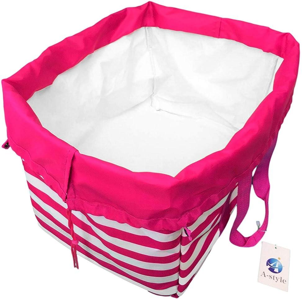 平行爆弾キャンパスA-style エコバッグ レジかご 折りたたみタイプ 保冷はっ水素材使用 34L ビッグサイズ (ピンク)