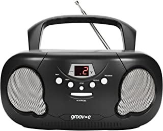 Groov-e Portable CD Player Boombox with AM/FM Radio, 3.5mm AUX Input, Headphone Jack, LED Display - Black