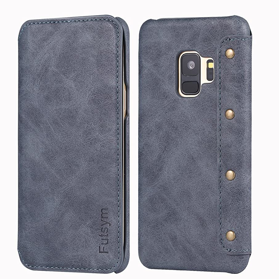 FUTSYM Galaxy S9 Plus Wallet Case, Ultra Slim Business Style, Premium Scratch Resistant Leather Flip Case for Samsung Galaxy S9 Plus, with Gift Box (S9PLUS-Gray)