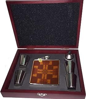 Angel Indigo Wood Grain Japanese Art - Pocket Liquor Hip Flask 6 oz. Stainless Steel Stocking Stuffer Tailgating Whiskey Vodka Fun Gift Set