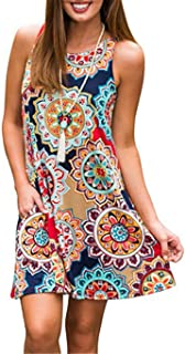 Luranee Womens Casual Sleeveless Dresses Knee Length Tunic Dress with Pockets