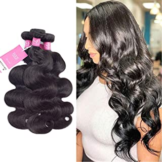 ISEE Hair Peruvian 3 Bundles 20 22 24inches Body Wave 100% Unprocessed Virgin Human Hair Weave Extensions Natural Black Color