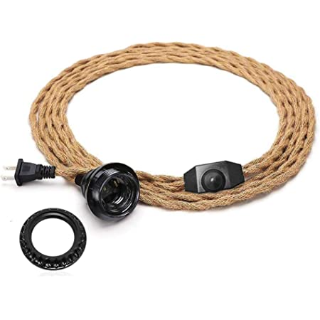 Vintage Plug in Hanging Light Kit, DORESshop Vintage 15FT Twisted Hemp Rope Pendant Light Cord Kit with Dimmer Switch, Industrial Pendant Lighting E26 Socket for Pendant Lamp Farmhouse Lamp Cable DIY