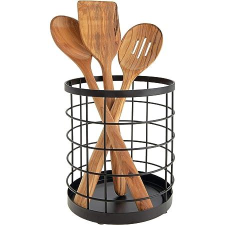 iDesign boite de rangement pour ustensiles de cuisine sur le plan de travail, range couverts rond en métal, bac à couverts, noir mat