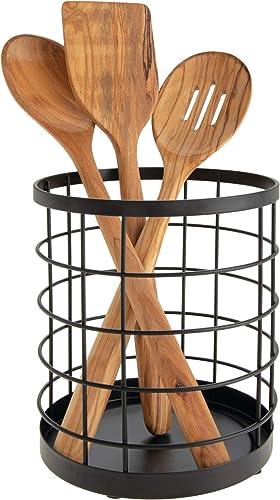 iDesign boite de rangement pour ustensiles de cuisine sur le plan de travail, range couverts rond en métal, bac à cou...