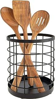 iDesign boite de rangement pour ustensiles de cuisine sur le plan de travail, range couverts rond en métal, bac à couvert...