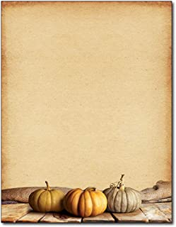 Fall Pumpkins Autumn Letterhead Paper - 80 Sheets - for Invitations, Flyers, Letters