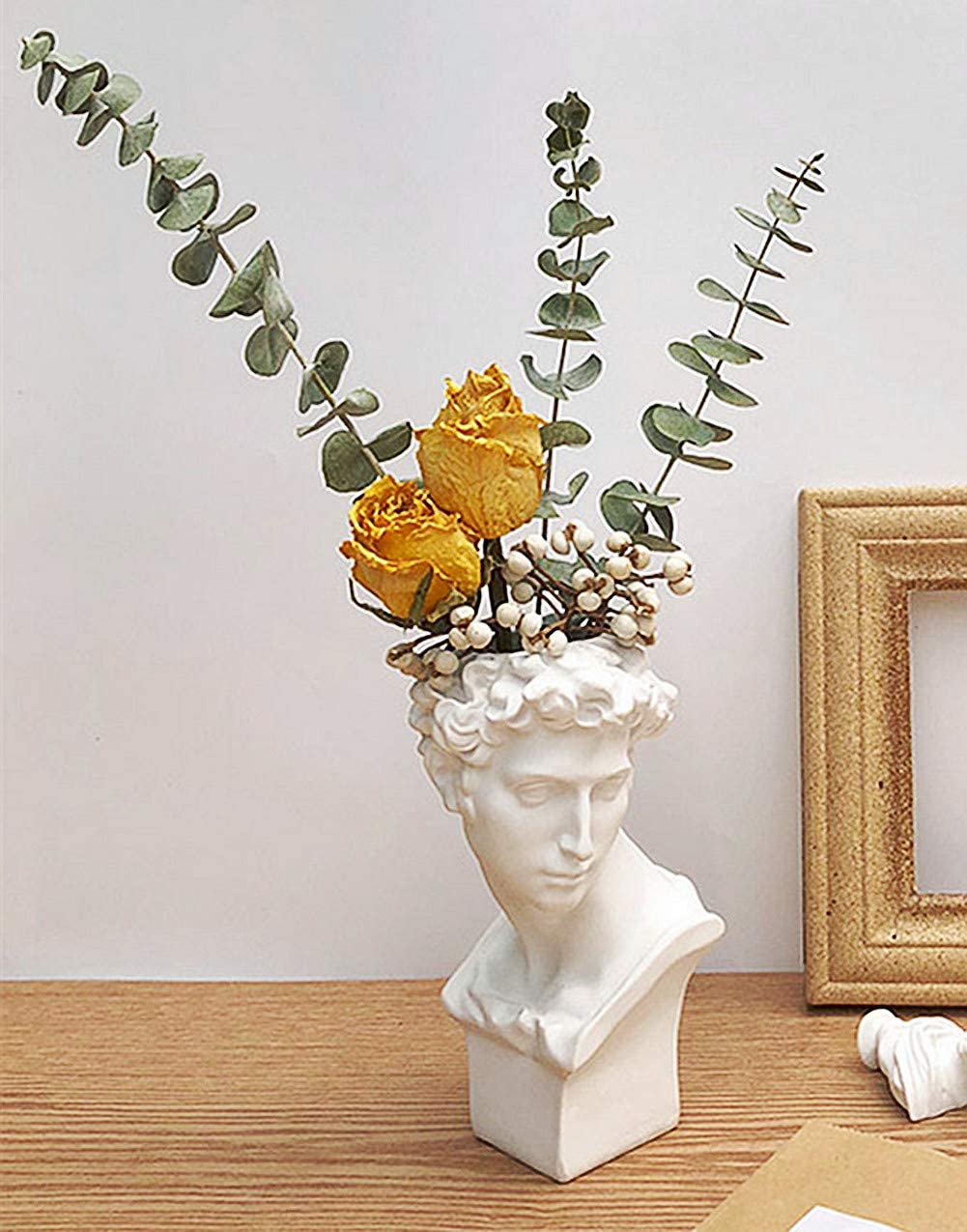 FunSpace Greek Roman Style Statue Flowers Vase Succulent Planter - Makeup Brushes Container Pen Holder - Great Gift for Home or Office Decoration (Giuliano-Small(6.7x3.5inch))