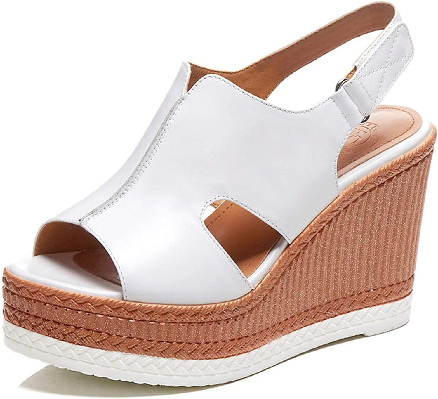 Longbao 2019 New Genuine Leather Wedge Women Sandals Platforms High Heels Woman Party shoes