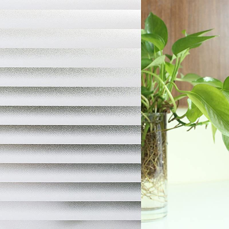 Privacy Windows Film Non Adhesive Static Frosted Stripe Patterns Glass Film 23 6 78 7 Inches 60CM X 200CM