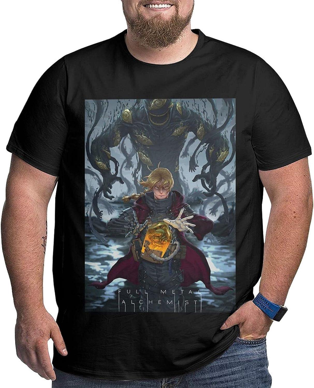 Fullmetal Alchemist Edward Elric Male Shirt Casual Short Sleeve Plus Size Cotton Shirts
