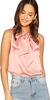 SheIn Women's Solid Bow Tie Neck Sleeveless Casual Work Blouse Shirts Tops