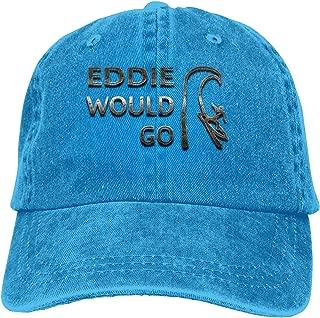 Vintage Denim Eddie Would Go Steel Effect Adjustable Washed Trucker Baseball Cap Dad Hat