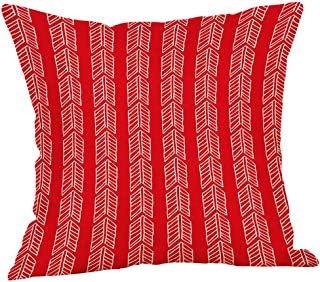 Dolloress Red Geometry Line Patterns Flax Pillowcase Pillow Case Cushion Cover for Home Dorm Car Room Sofa Decoration