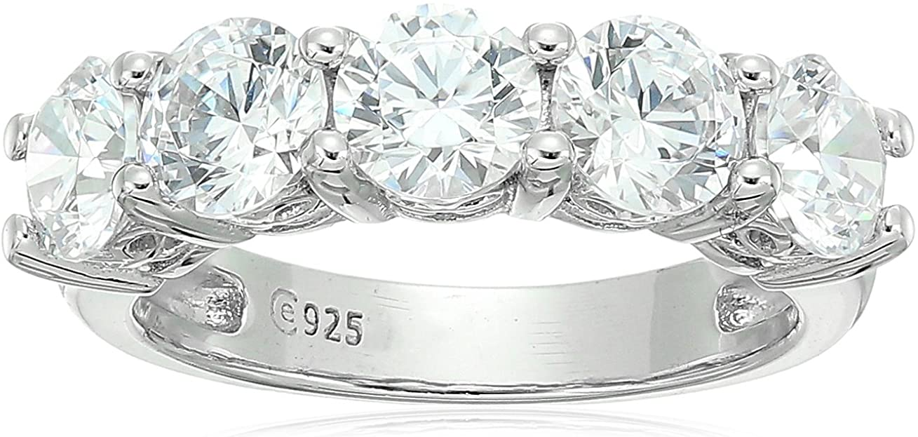 Platinum or Gold Plated Sterling Seasonal Wrap Introduction Silver Year-end annual account 5-Stone m Ring Round-Cut