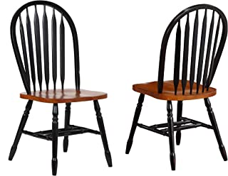 Sunset Trading Arrowback Dining Chair, Set of 2, 38, Antique Black/Cherry