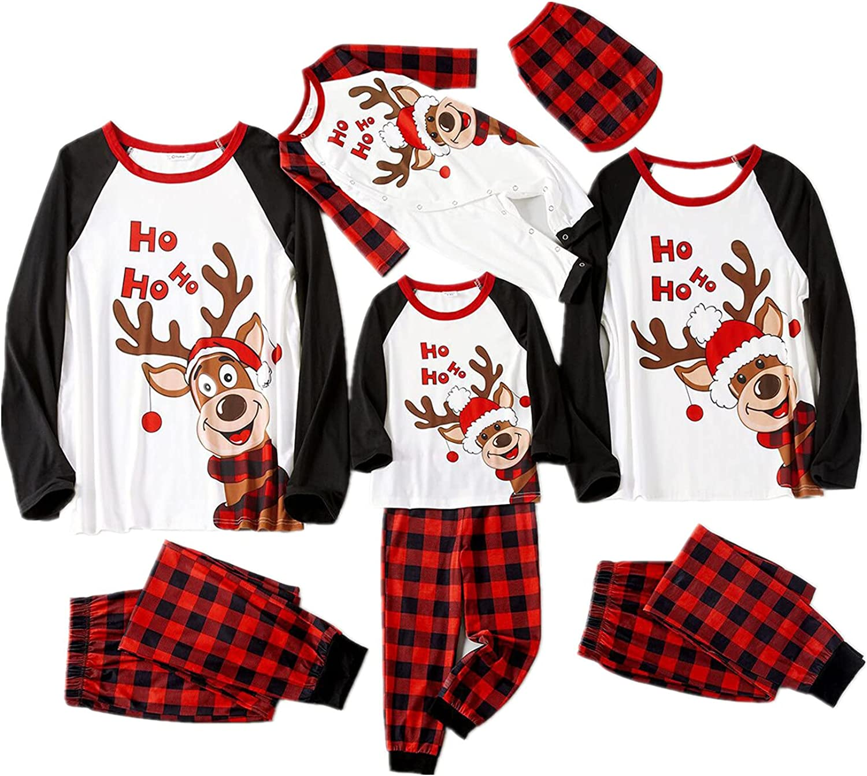 Matching Family Pajamas Sets Christmas PJ's Women Men Long Sleeve Tops +Pants Xmas Holiday Sleepwear