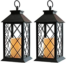 "Bright Zeal 2-Pack 14"" Decorative Candle Lantern Black Outdoor Lanterns With Timer Candles - Lanterns Battery Powered Led ..."