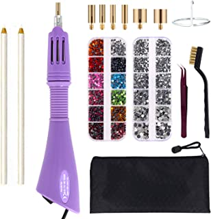 Hotfix Applicator, GGLTECK DIY Hot Fix Rhinestone Applicator Wand Setter Tool Kit with 7 Different Sizes Tips, Tweezers & Brush Cleaning kit and 2 Pack Hot-Fix Crystal Rhinestones