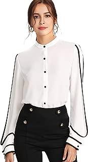 Women's Elegant Button Workwear Shirt Stand Collar Long Sleeve Blouse