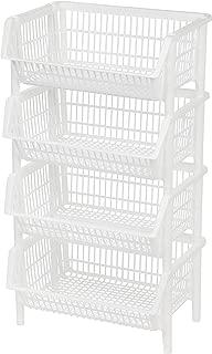 IRIS USA, Inc. Jumbo Stacking Basket, 4 Pack, White