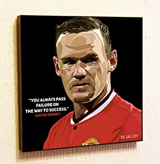 Wayne Rooney Manchester United MU Decor Motivational Quotes Wall Decals Pop Art Gifts Portrait Framed Famous Paintings on Acrylic Canvas Poster Prints Artwork Geek (10x10